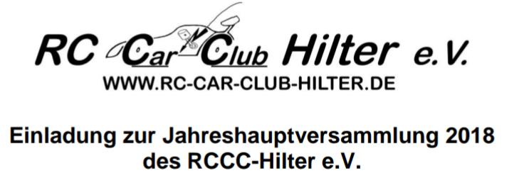 Jahreshauptversammlung RCCC Hilter 2018